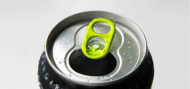 Opened canned energy drink